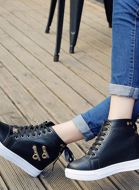 Black Women High Top Lace-up Shoes LC12296-2