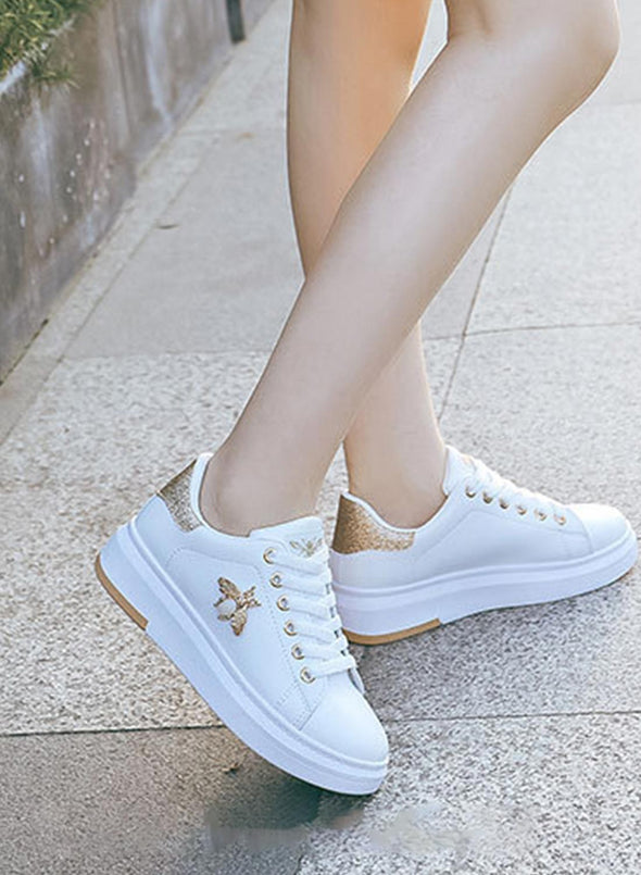 Gold All-Match Leather Waterproof Casual White Shoes LC12260-12