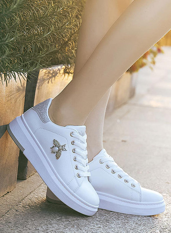 Silver All-Match Leather Waterproof Casual White Shoes LC12260-13