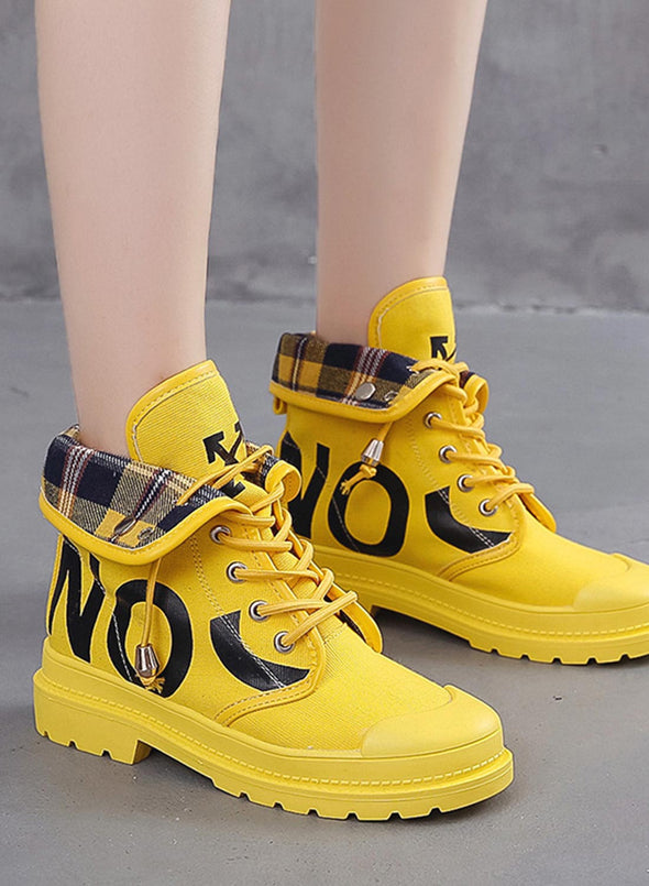 Yellow British Style Fashion High Top Ankle Boots LC12311-7