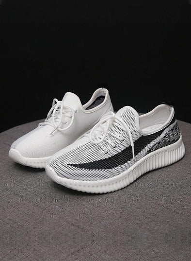 White Breathable All-Match Running Flying Woven Sneakers LC12258-1