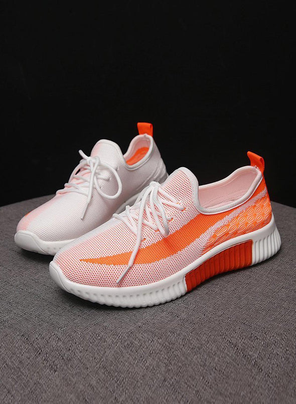 Orange Breathable All-Match Running Flying Woven Sneakers LC12258-14