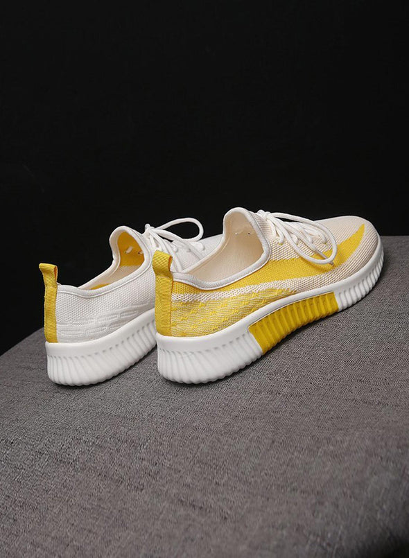 Yellow Breathable All-Match Running Flying Woven Sneakers LC12258-7