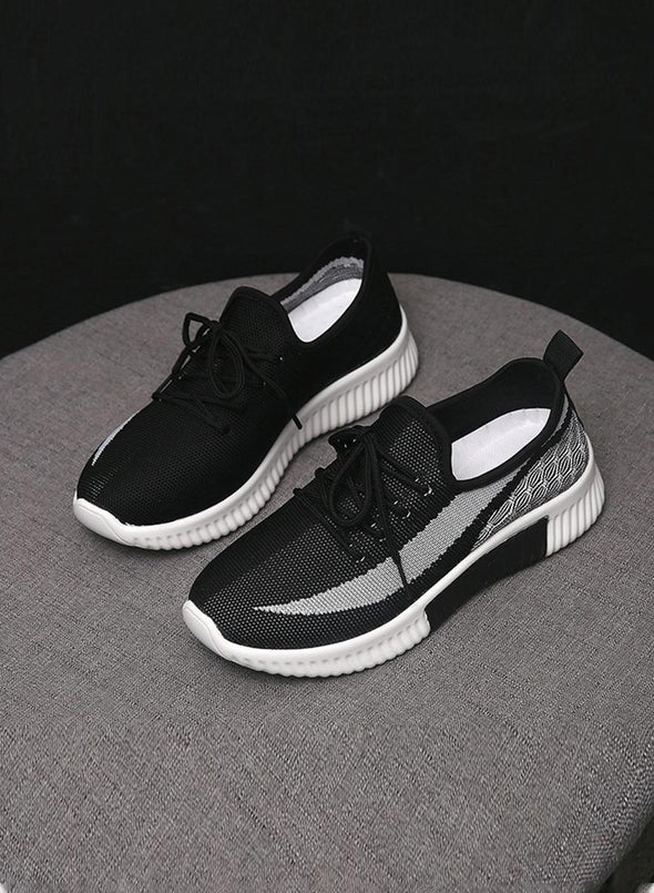 Black Breathable All-Match Running Flying Woven Sneakers LC12258-2