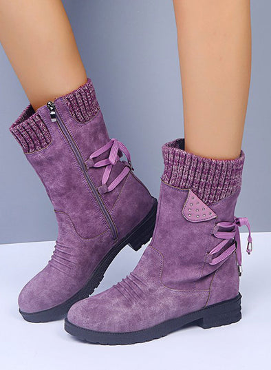 Purple Solid Color Woolen Snow Boots Thick Heel Strap Martin Boots LC12391-8