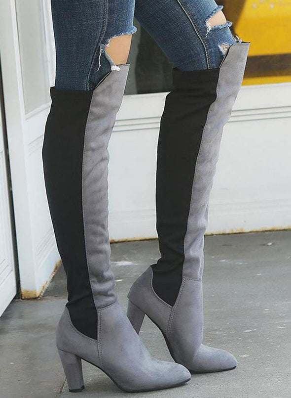 Gray Two-Tone Over The Knee Zip Boots LC12387-11