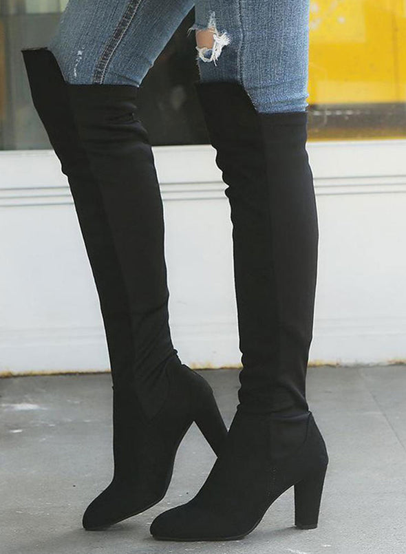 Black Two-Tone Over The Knee Zip Boots LC12387-2