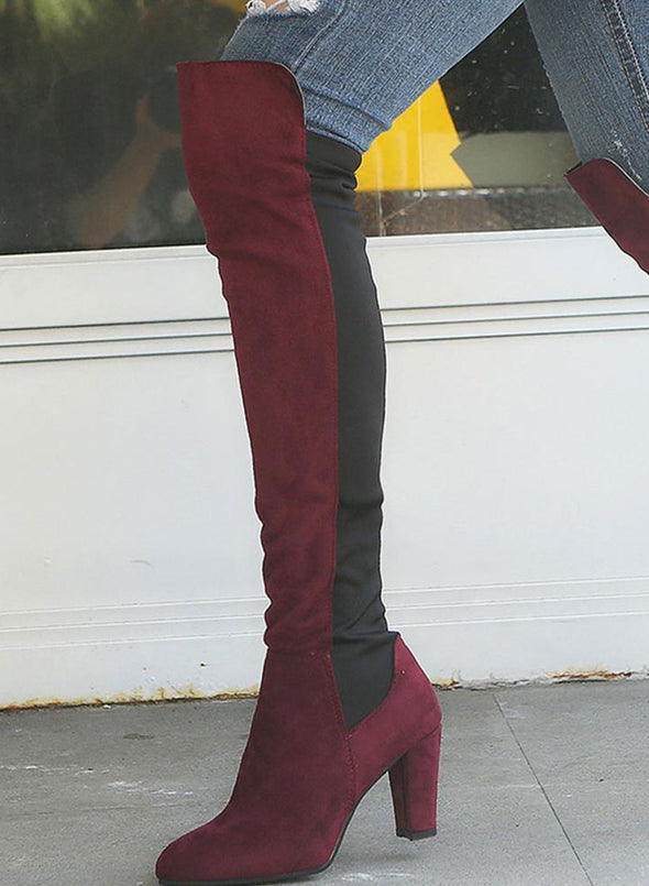 Red Two-Tone Over The Knee Zip Boots LC12387-3