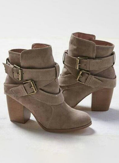 Gray Women Solid Chunky Heels Buckle Ankle Boots LC12378-11