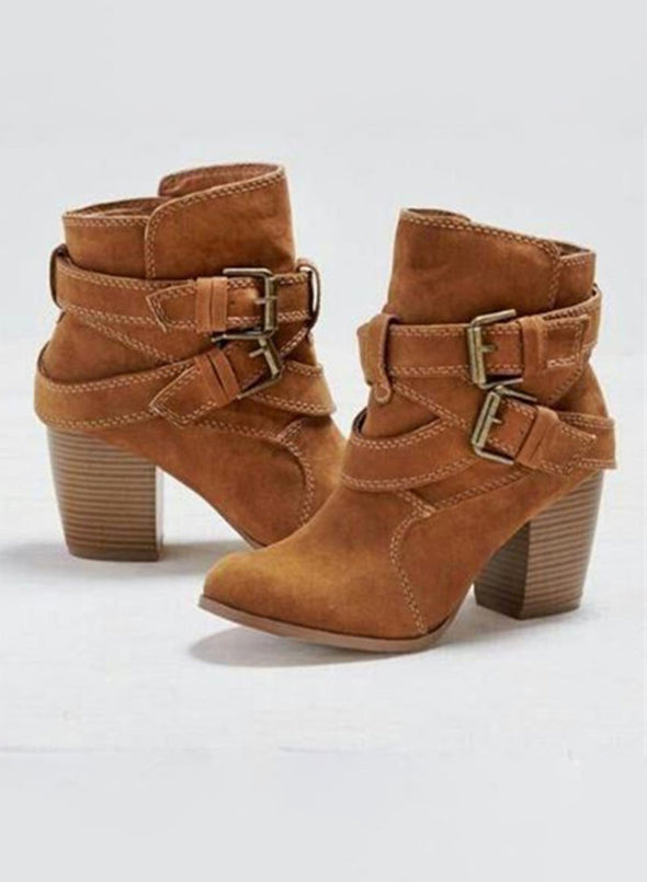 Brown Women Solid Chunky Heels Buckle Ankle Boots LC12378-17
