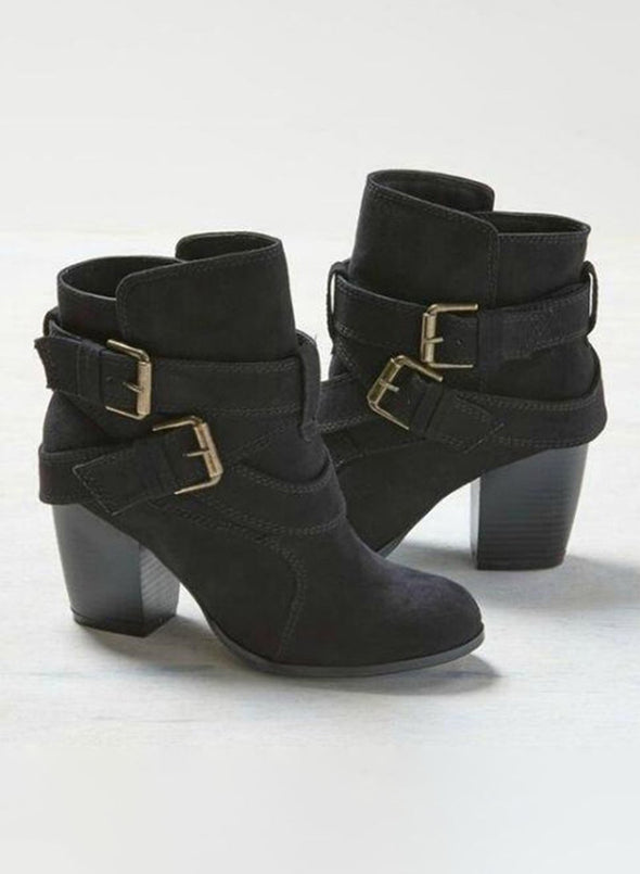 Black Women Solid Chunky Heels Buckle Ankle Boots LC12378-2