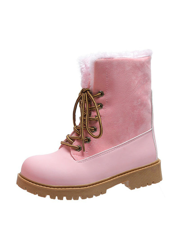 Pink Women Lace-up Warm Furry Snow Boots LC12403-10