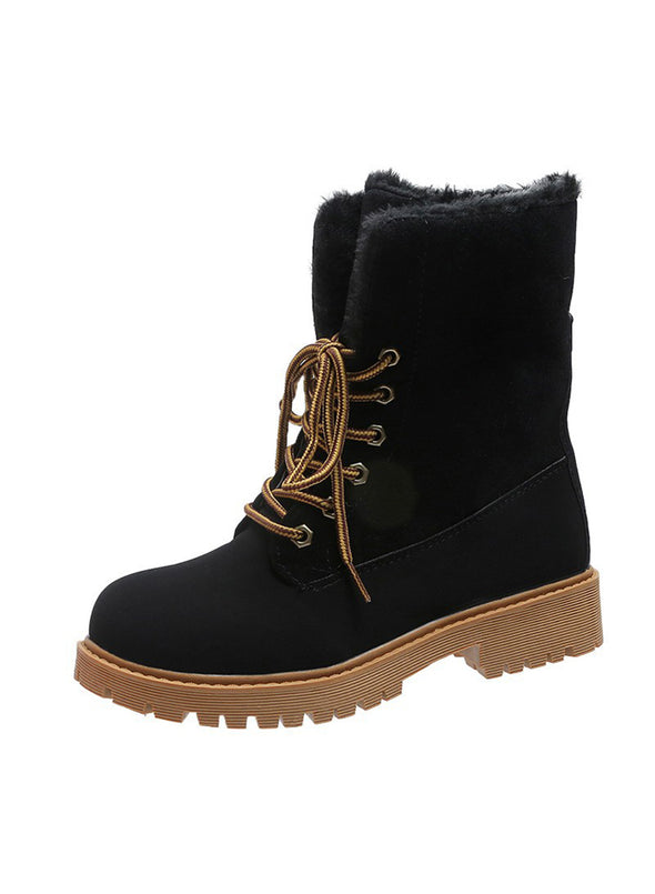 Black Women Lace-up Warm Furry Snow Boots LC12403-2
