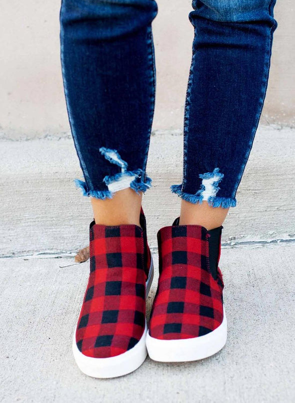 Red Women Plaid Round Head Flat Casual  Shoes LC12405-3