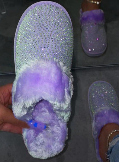 Purple Women Rhinestone Winter Furry Slippers LC12409-8