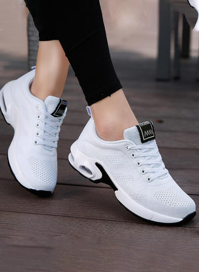 White Women Lace-up Flyknit Air Cushioned Sneakers LC12413-1