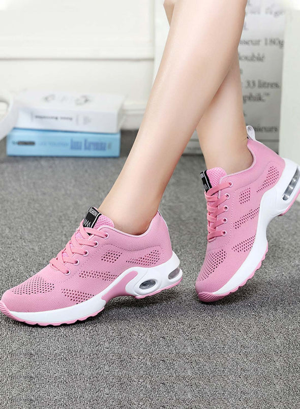 Pink Women Lace-up Flyknit Air Cushioned Sneakers LC12413-10