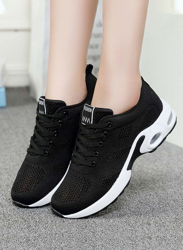 Black Women Lace-up Flyknit Air Cushioned Sneakers LC12413-2