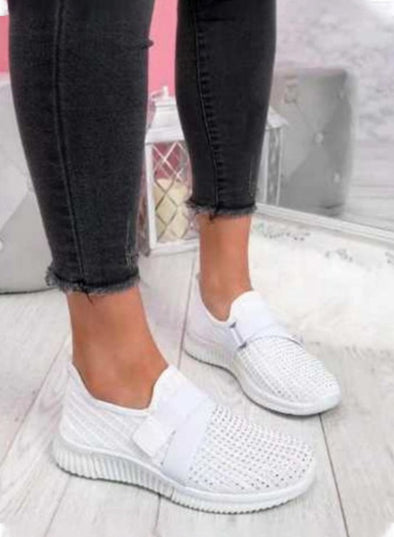 White Women Flyknit Slip on Breathable Sneakers LC12414-1