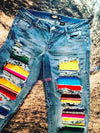 Blue Blue Boho Stripes Ripped Jeans LC78806-5
