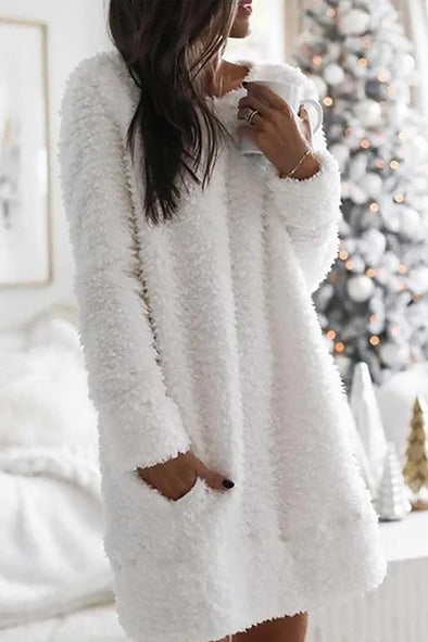 White Fuzzy Solid Warm Paneled Pockets Sweater Dress LC223661-1