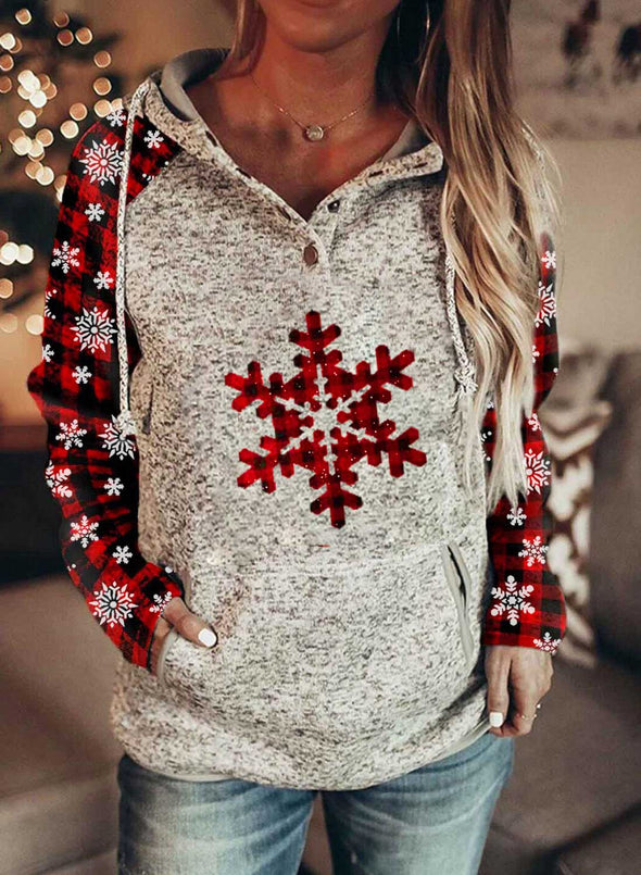 Red Women's Hoodies Christmas Long Sleeve Snow Print Hoodies With Pockets LC2535029-3