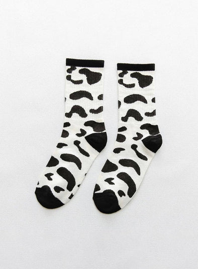 White Christmas Socks Striped Cotton Socks LC09246-1
