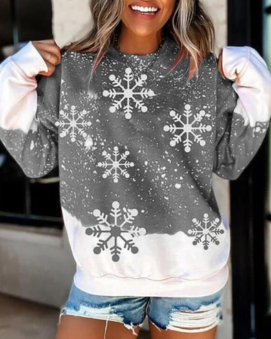 Gray Christmas Snowflake Print Colorblock Sweatshirt LC2535174-11