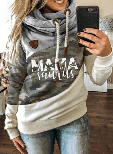 Green Women's Hoodies Christmas Drawstring Turtleneck Turtleneck Camouflage Hoodies LC2535114-9