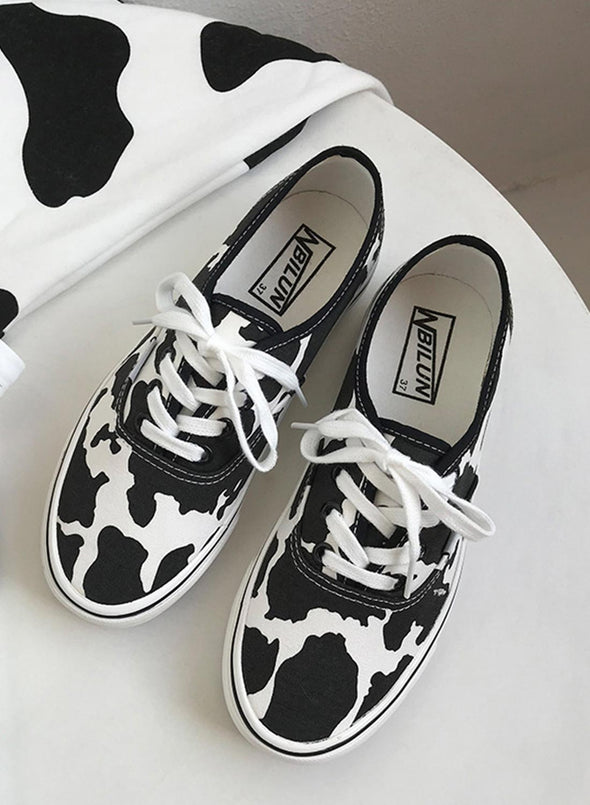 White Women's Canvas Shoes Lace Animal Print Canvas Shoes LC12740-1
