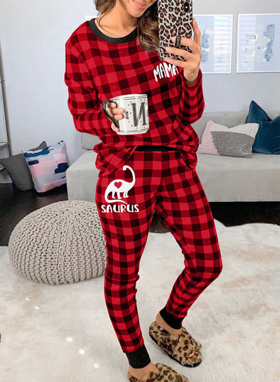 Red Women's Loungewears Plaid Christmas Letter Animal Print Long Sleeve Round Neck Loungewear With Pockets LC451859-3