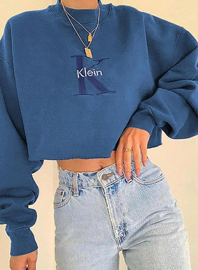 Blue Women's Sweatshirts Solid Letter/Slogan Print Long Sleeve Round Neck Sweatshirt LC2535377-5