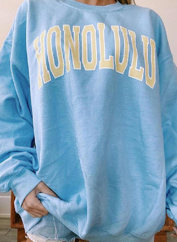 Sky Blue Women's Sweatshirts Solid Letter Print Long Sleeve Round Neck Sweatshirt LC2535380-4