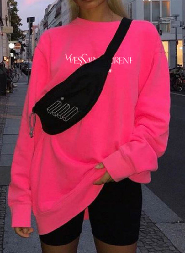 Pink Women's Sweatshirts Solid Letter Print Long Sleeve Round Neck Sweatshirt LC2535384-10