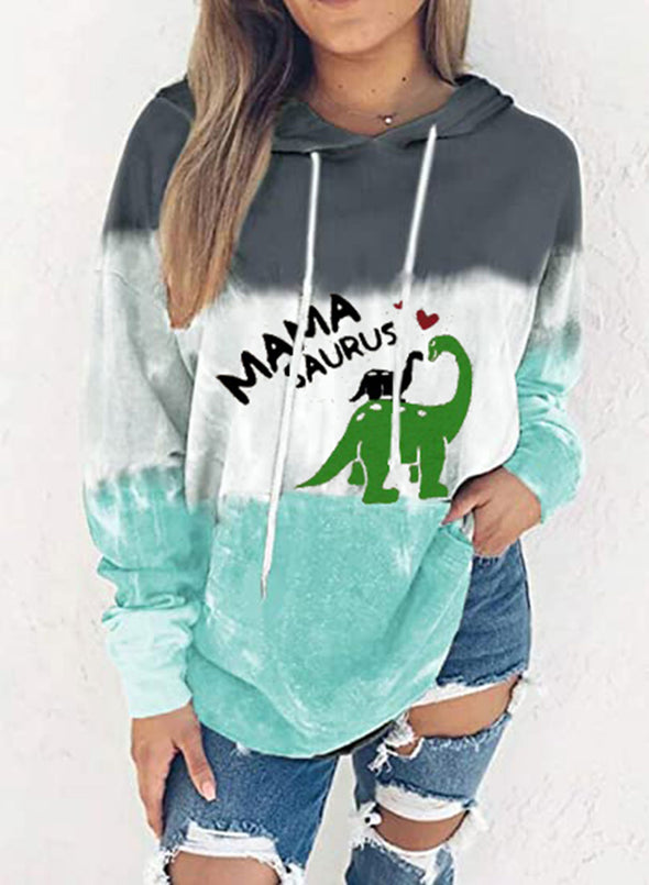 Multicolor Women's Hoodies Color-block Animal Letter Print Long Sleeve Hoodie LC2535403-22