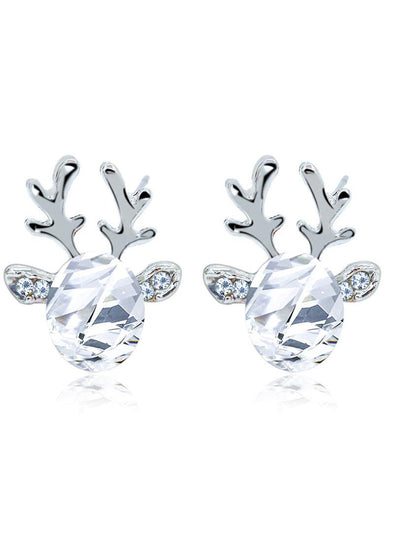 White Women's Earrings Christmas Reindeer Earrings LC01874-1