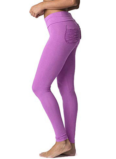 Purple Women's Yoga Pants Pure Color Breathable Pleated Hip-lifting Yoga Pants LC260011-8