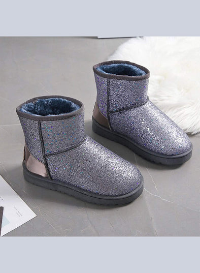 Silver Women's Boots Synthe Leather Solid Boots LC12631-13