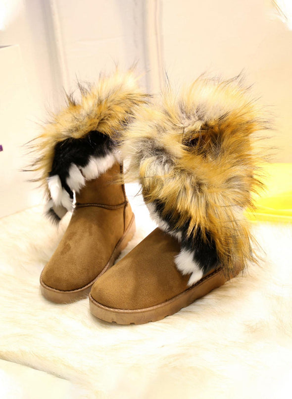 Yellow Women's Boots Thick High Tube Cotton Flow Non-slip Boots LC12632-7