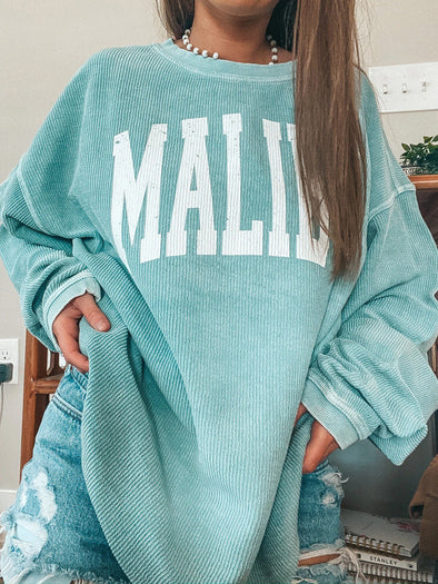 Vintage Basic Long Sleeve Blue Sweatshirt
