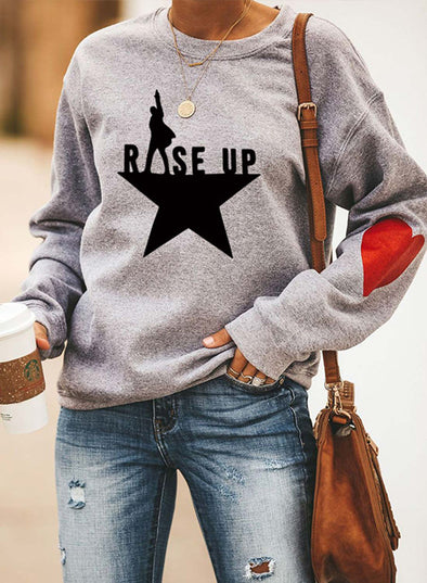 Gray Women's Sweatshirts Color-block Slogan Letter Print Long Sleeve Round Neck Sweatshirt LC2535691-11