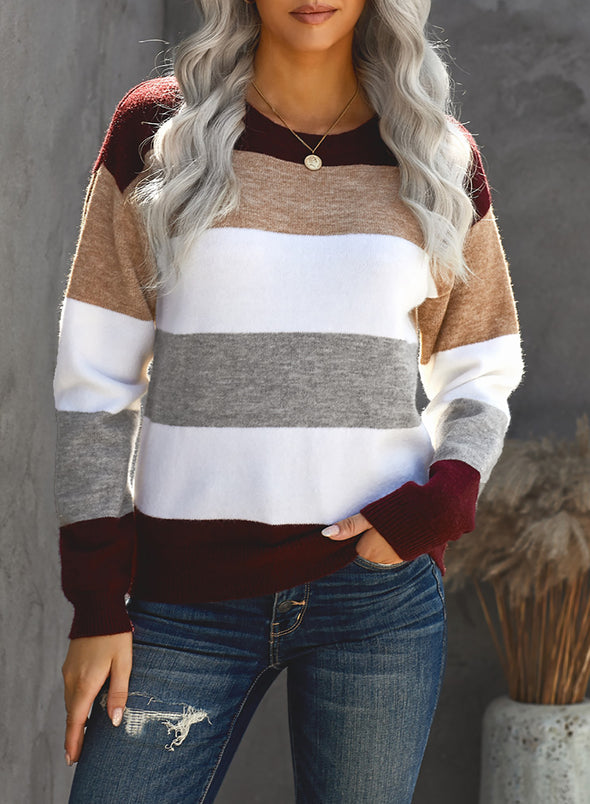 Red Women's Sweater Striped Color Block Crew Neck Sweater LC272397-3