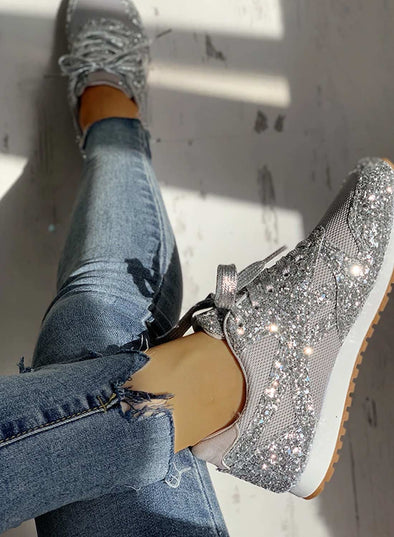 Silver Women's Sneakers Synthe Leather Solid Flat Sneakers LC12823-13