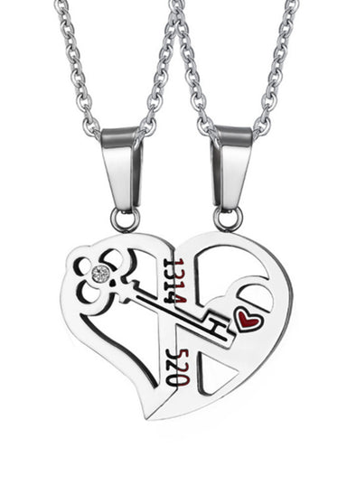 Silver Adult's Necklaces Stainless Steel Love Key Splicing Couple Pendant Necklace LC011008-13