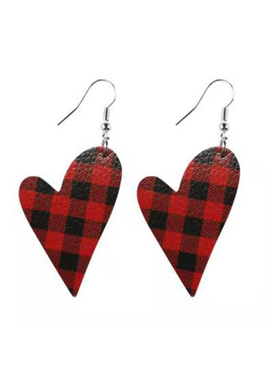 Red Women's Earrings Plaid Christmas Heart-shaped Earrings LC011010-3