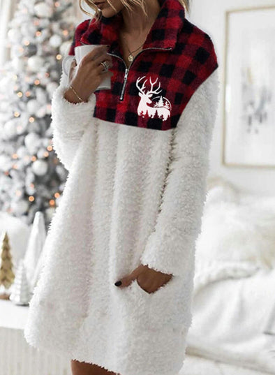 Red Women's Tunic Tops Plaid Animal Letter Print Long Sleeve Stand Neck Tunic Top LC2514967-3