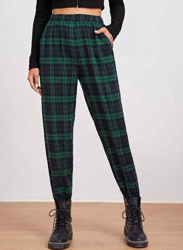 Green Women's Joggers Plaid Slim High Waist Daily Full Length Joggers LC771177-9