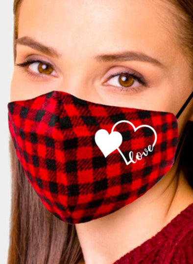 Red Adults' Mask Christmas Cotton Plaid Mask KZ212-3