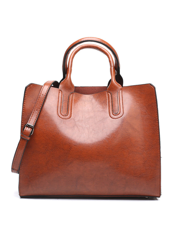 Brown Women's Bags Fashion Pu Leather One-shoulder Messenger Crescent Bag LC003132-17