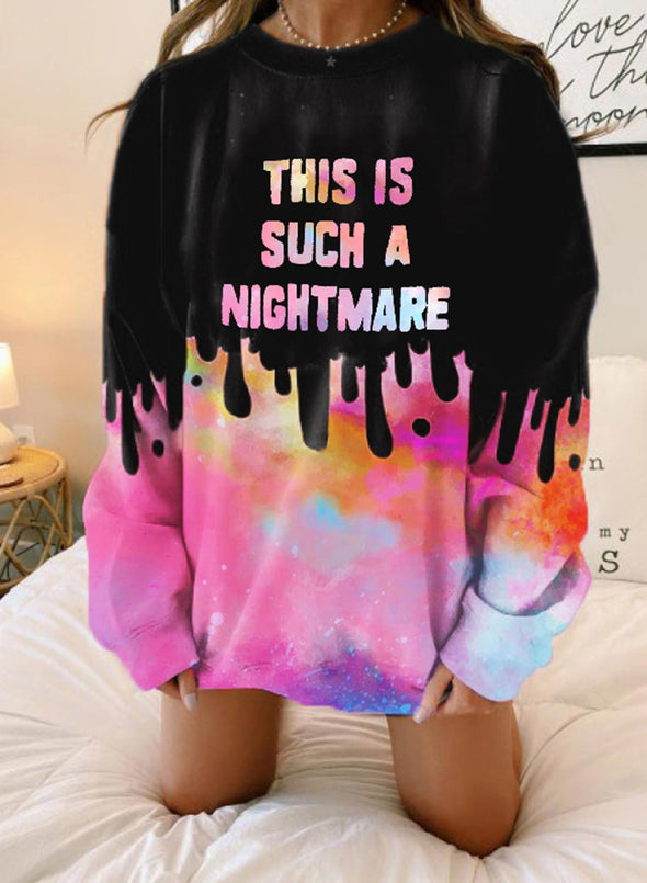 Pink Women's Sweatshirts Letter Color Block Long Sleeve Round Neck Casual Sweatshirt LC2536303-10